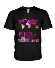 Myself What A Wonderful World 5 V-Neck T-Shirt thumbnail