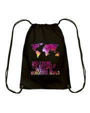 Myself What A Wonderful World 5 Drawstring Bag thumbnail