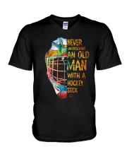 An Old Man With A Hockey Stick V-Neck T-Shirt thumbnail