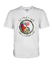 Myself What A Wonderful World 5 V-Neck T-Shirt thumbnail