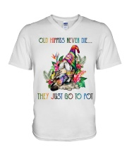 Old Hippies Never Die V-Neck T-Shirt thumbnail