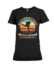 An Old Man With A Hockey Stick Premium Fit Ladies Tee thumbnail