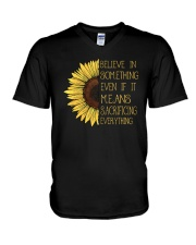 Belive In Something Sunflower Hippie A0179 V-Neck T-Shirt thumbnail