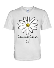Imagine White Flowers A0125 V-Neck T-Shirt thumbnail