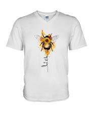 Let It Be Bee Flower V-Neck T-Shirt thumbnail
