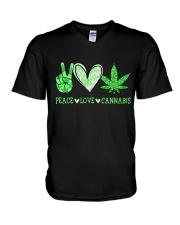 Peace Love Cannabis V-Neck T-Shirt thumbnail