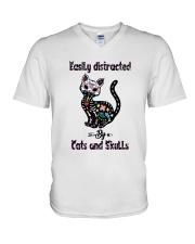 Cats And Skulls V-Neck T-Shirt thumbnail