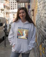 Just Exhale Hooded Sweatshirt lifestyle-unisex-hoodie-front-1