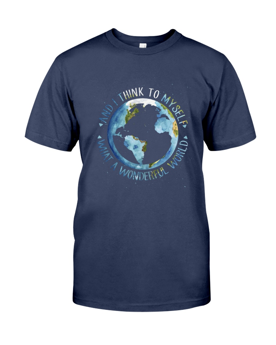 Myself What A Wonderful World Premium Fit Mens Tee