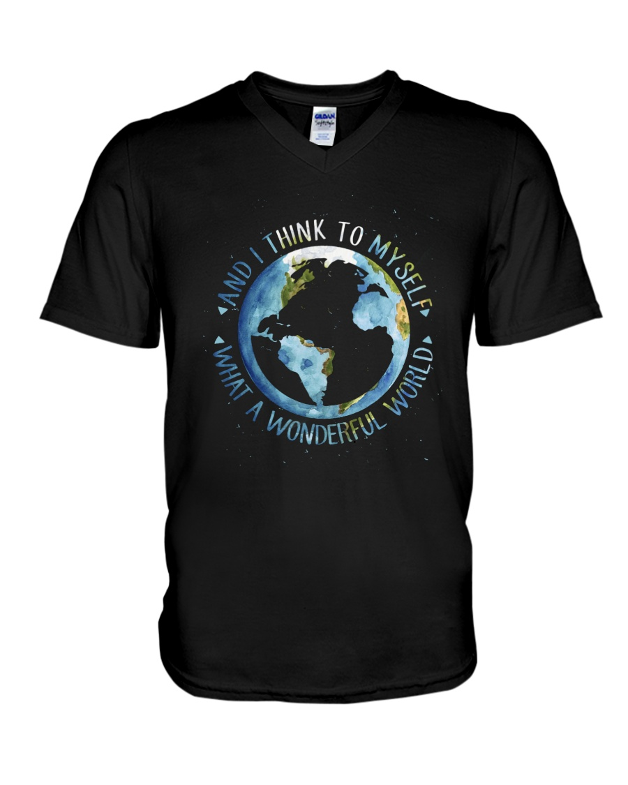 Myself What A Wonderful World V-Neck T-Shirt