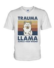 Trauma Lllama V-Neck T-Shirt thumbnail