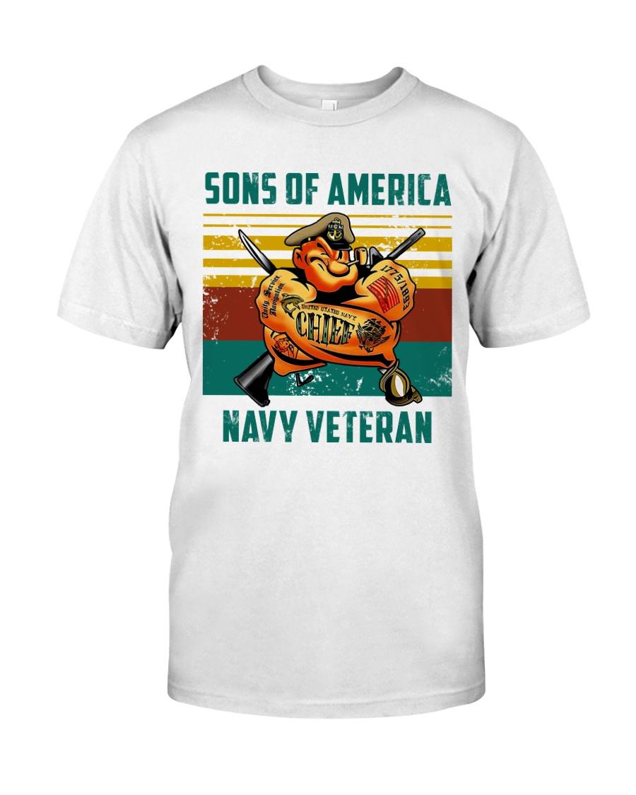 Navy Veteran Premium Fit Mens Tee