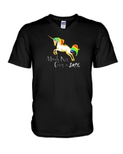 Not Giving A Flying Unicorn V-Neck T-Shirt thumbnail