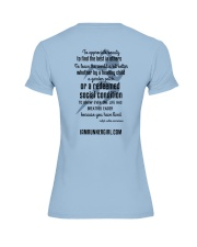 Redeemed Social Condition Logo Back Premium Fit Ladies Tee back