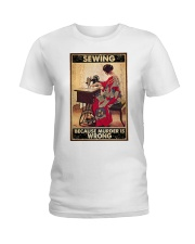 Sewing Because Murder Is Wrong Ladies T-Shirt tile