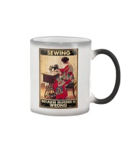 Sewing Because Murder Is Wrong Color Changing Mug tile