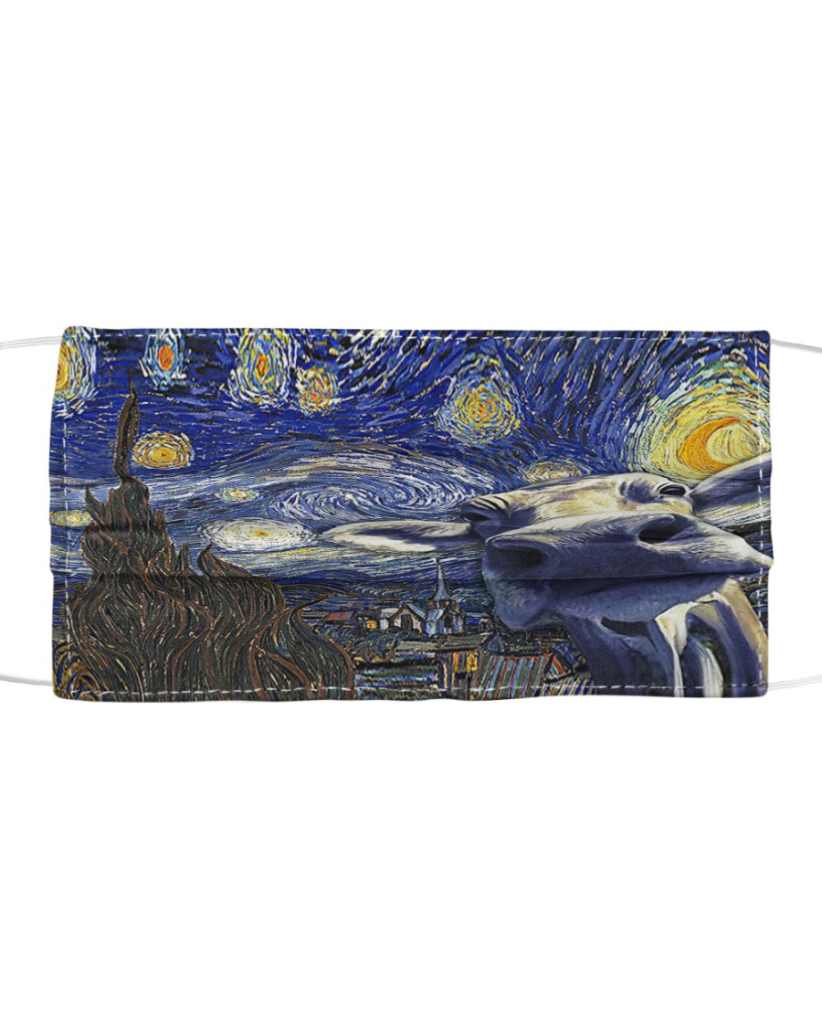 Heifer In Starry Night Cloth face mask