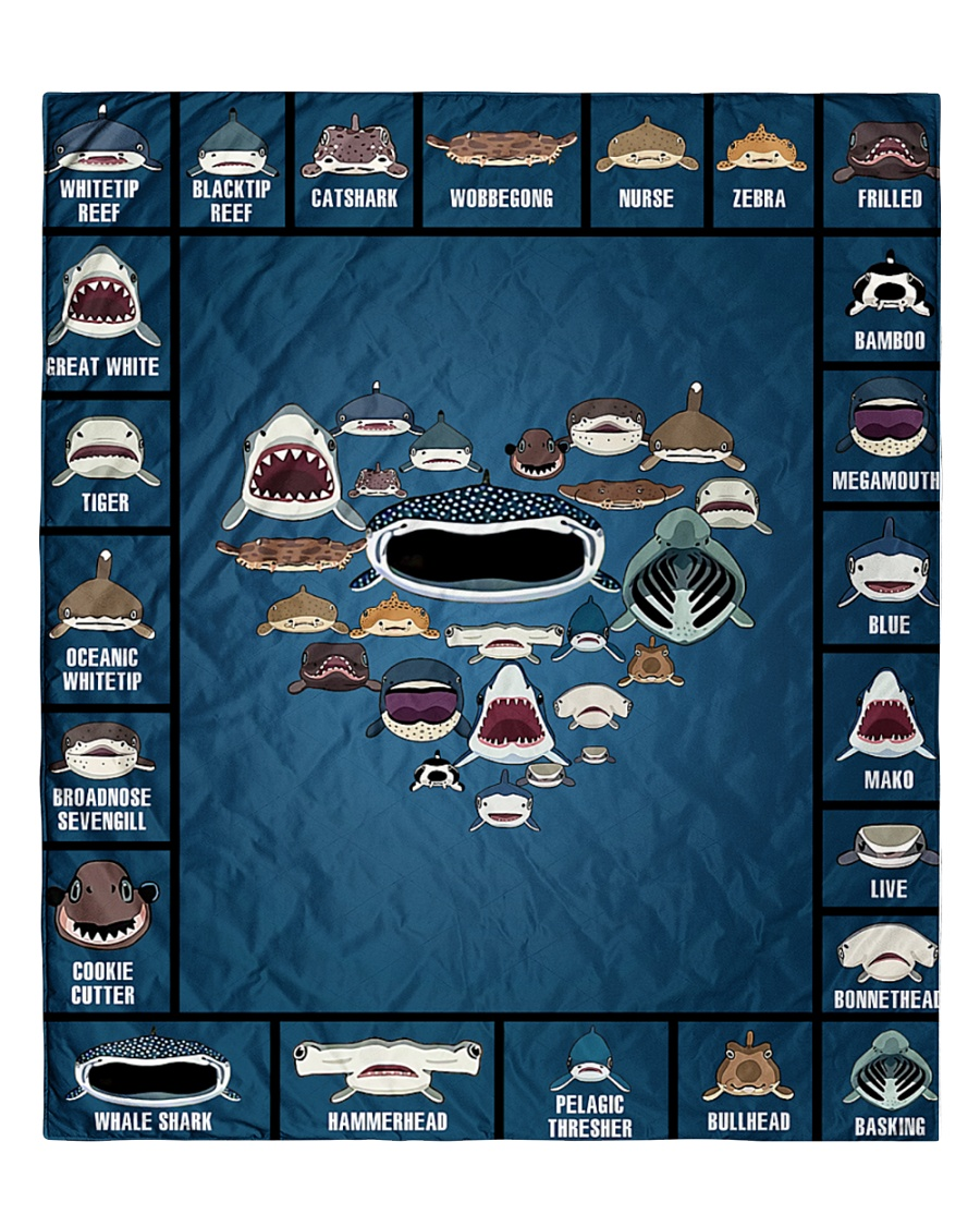 """Sharks Infographic Quilt 60""""x70"""" - Twin"""