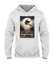 Witch Riding Broom Hooded Sweatshirt thumbnail