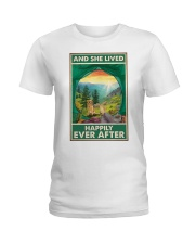 Camping and Golden Retriever Dog Lovers Ladies T-Shirt thumbnail