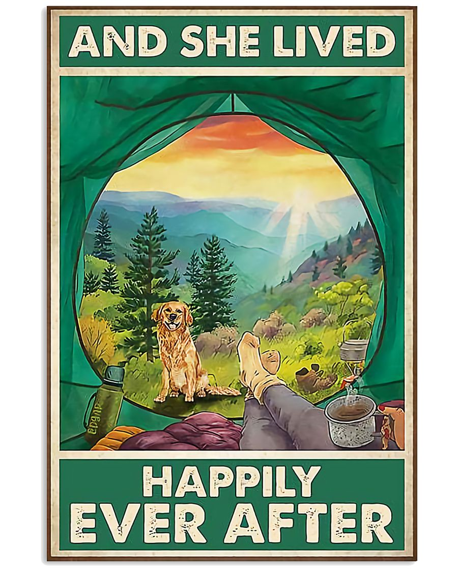 Camping and Golden Retriever Dog Lovers 11x17 Poster