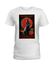 Witch Cat Halloween Ladies T-Shirt thumbnail