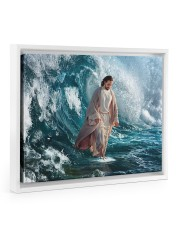 He Walks On Water 14x11 White Floating Framed Canvas Prints thumbnail