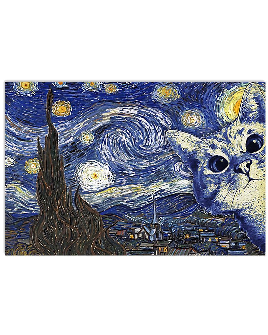 Catty Starry Night 17x11 Poster