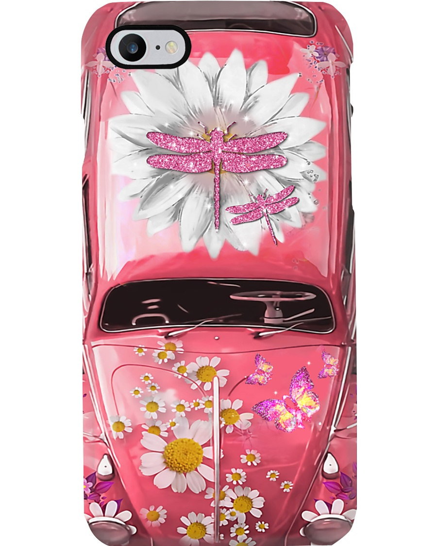 Dragonfly Pink Lovers Vw Bug Phone Case