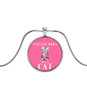 Feeling down Hug a cat - JY Metallic Circle Necklace tile