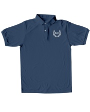 Embroidered Laurel Chi Omega Classic Polo embroidery-polo-short-sleeve-layflat-front