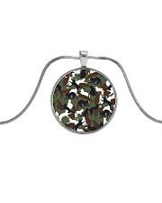 Camo cats - JY Metallic Circle Necklace front