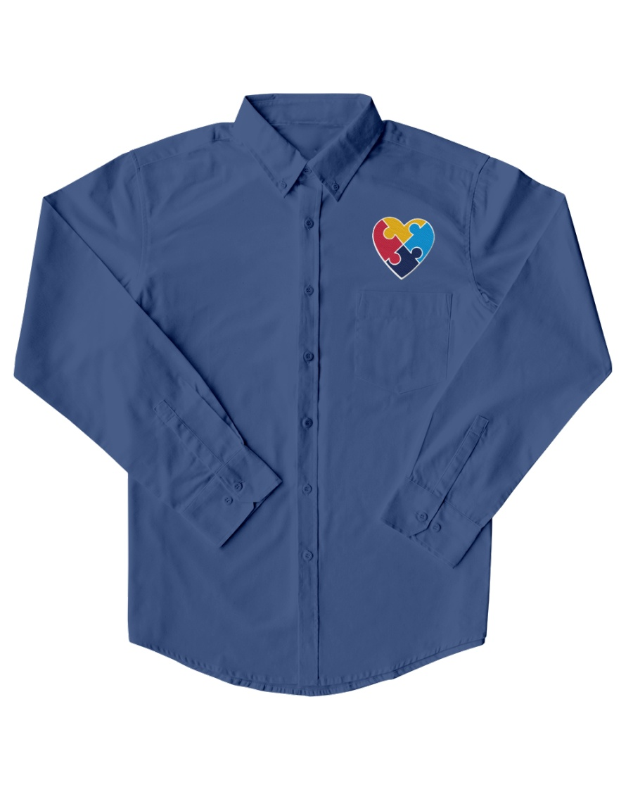 Embroidered Autism Heart Dress Shirt