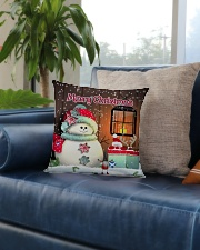 CUTE SNOWMAN SCOTTISH MERRY CHRISTMAS Square Pillowcase aos-pillow-square-front-lifestyle-02