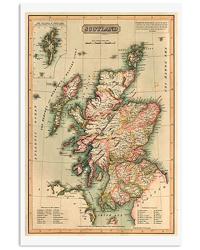 SCOTLAND VINTAGE MAP 1814 REPRINT