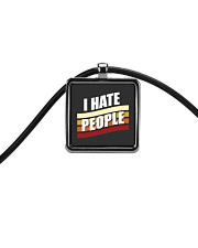 I Hate People Cord Rectangle Necklace thumbnail