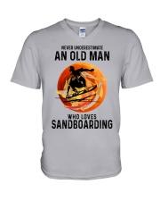 Sandboarding never old man V-Neck T-Shirt tile