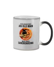 Sandboarding never old man Color Changing Mug tile