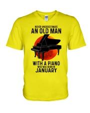 01 piano never old man V-Neck T-Shirt tile