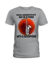05 hat saxophone old man Ladies T-Shirt tile