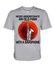 05 hat saxophone old man V-Neck T-Shirt tile