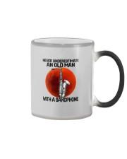 05 hat saxophone old man Color Changing Mug tile