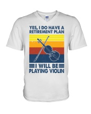 Violin Retirement Plan V-Neck T-Shirt tile