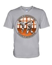 SCHOOL IS karate V-Neck T-Shirt tile