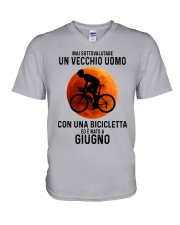 06 cycling old man italy V-Neck T-Shirt tile