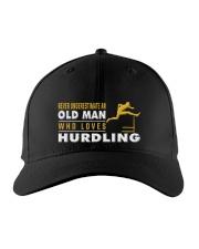 hat hurdling old man Embroidered Hat front