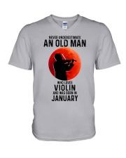 Violin Old Man Never 01 V-Neck T-Shirt tile