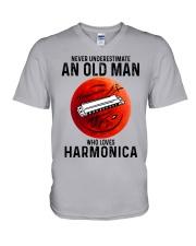 Harmonica never old man V-Neck T-Shirt tile