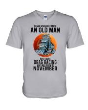 drag racing old man never 11 V-Neck T-Shirt tile