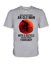 02 cycling old man never V-Neck T-Shirt tile